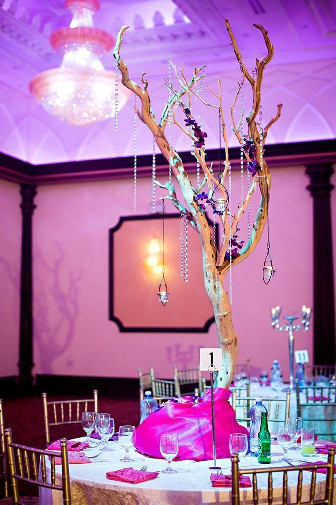 Wedding centrepiece branch | Colourful Asian Inspired Hindu Wedding | HRM Photography