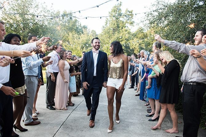 Bride and Groom leaving ceremony | Autumn wedding in North Carolina | Yasmin Leonard