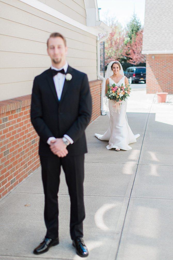 Wedding first look | Lake Side Wedding | Krystal Balzer Photography