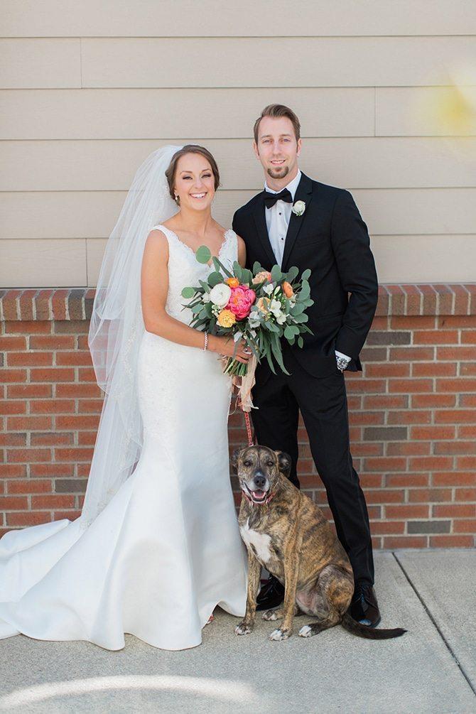 Couple and dog | Lake Side Wedding | Krystal Balzer Photography