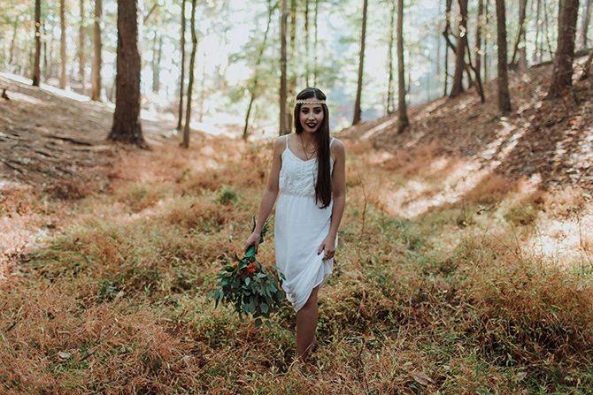 Bride walking through woods   Redtop Mountain Bride   Hellen Oliveira Photography
