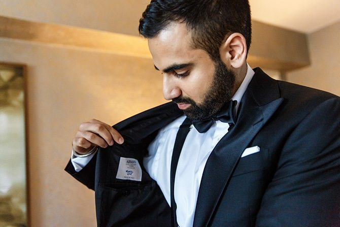 Groom getting ready for wedding | Downtown Wedding in Edmonton | Shandro Photo
