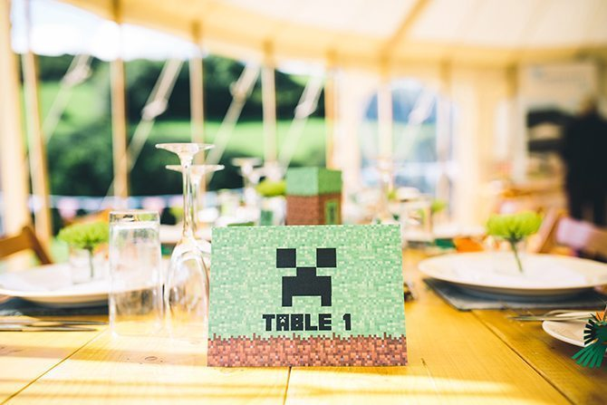 Minecraft wedding table numbers | Minecraft Inspired Wedding