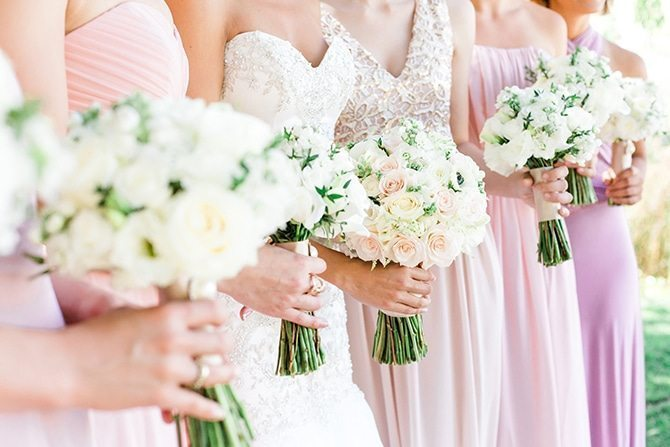 Pink bridal bouquets | Vineyard Wedding in Hollister | Amy Bluestar Photography