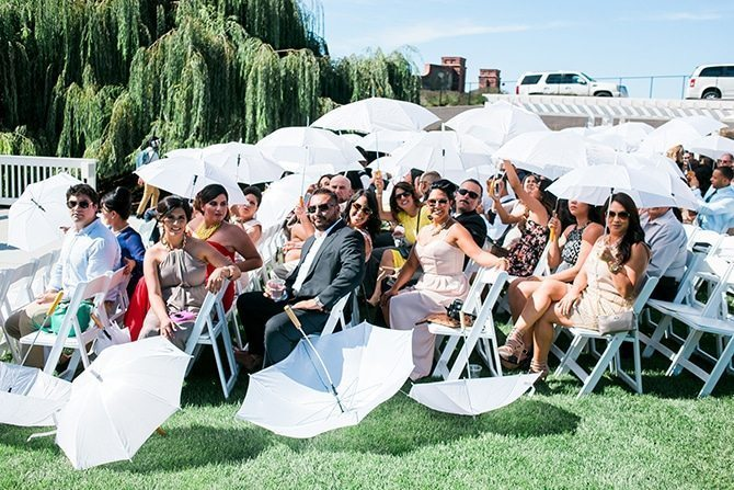 White wedding umbrellas | Vineyard Wedding in Hollister | Amy Bluestar Photography