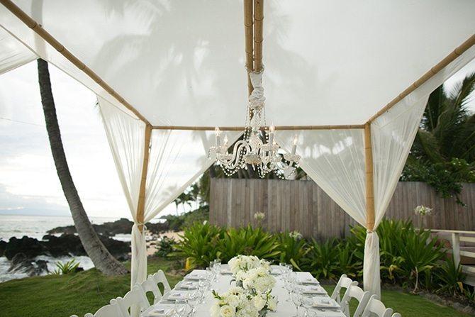 Outdoor reception | Intimate Hawaiian Beach Wedding | Joanna Tano Photography