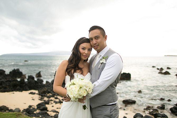 Couple at beach wedding | Intimate Hawaiian Beach Wedding | Joanna Tano Photography