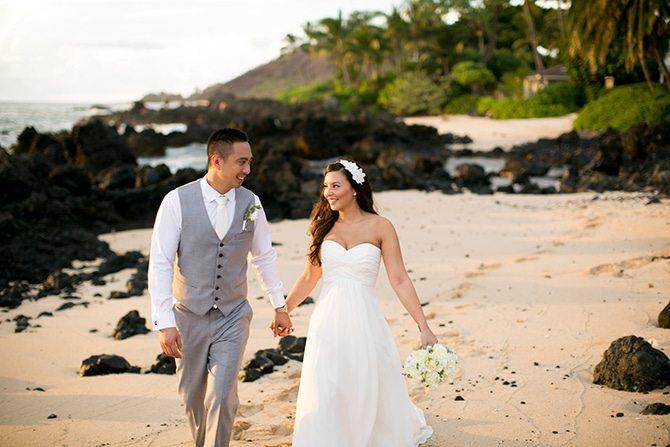 Couple walking along beach at sunset | Intimate Hawaiian Beach Wedding | Joanna Tano Photography