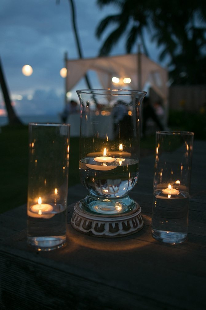 Candles at a wedding | Intimate Hawaiian Beach Wedding | Joanna Tano Photography