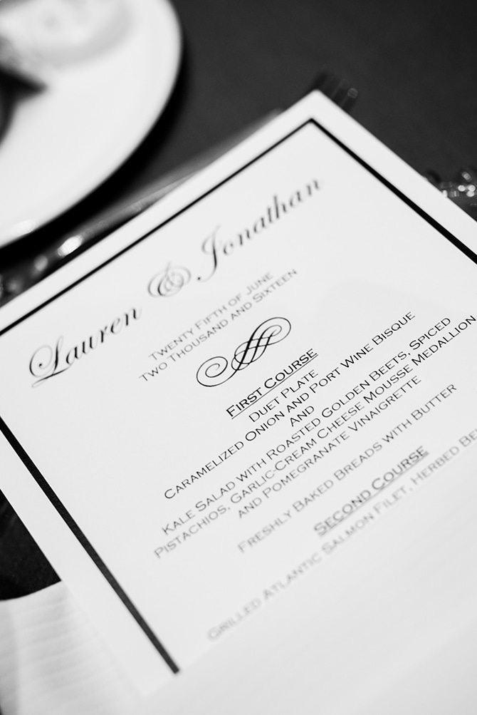 Monochrome wedding menu | Summer Wedding in Chicago | Lisa Kay Photograpy