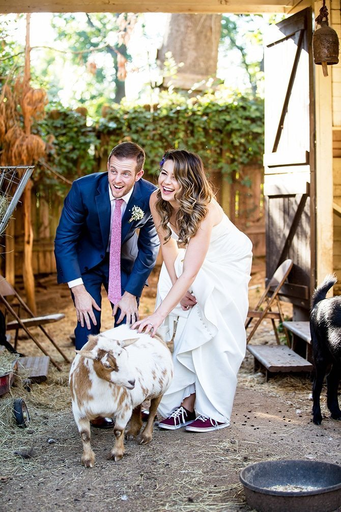 Bride and groom with goat | Unique Wedding in Georgia | TSE Gallery Photography
