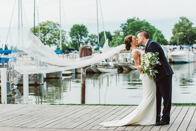 Bride and Groom in marina | Nautical Wedding in Ohio | Aster & Olive Photography