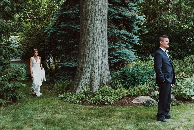 Couple first look | Nautical Wedding in Ohio | Aster & Olive Photography