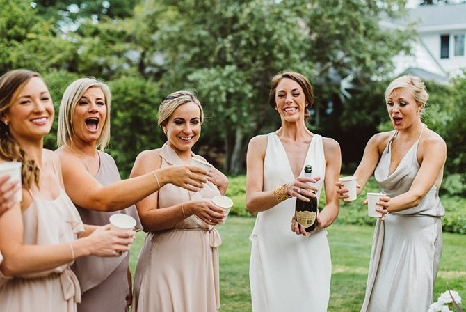 Bridesmaids with champagne | Nautical Wedding in Ohio | Aster & Olive Photography