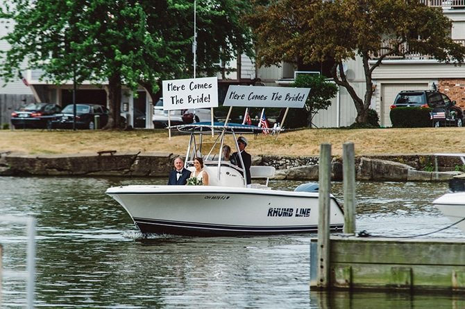 Bride arriving on boat | Nautical Wedding in Ohio | Aster & Olive Photography