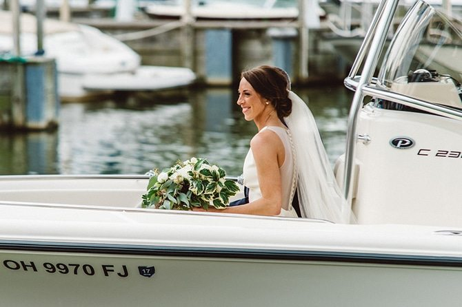 Bride on boat | Nautical Wedding in Ohio | Aster & Olive Photography