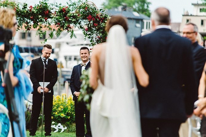 Bride walking down aisle | Nautical Wedding in Ohio | Aster & Olive Photography