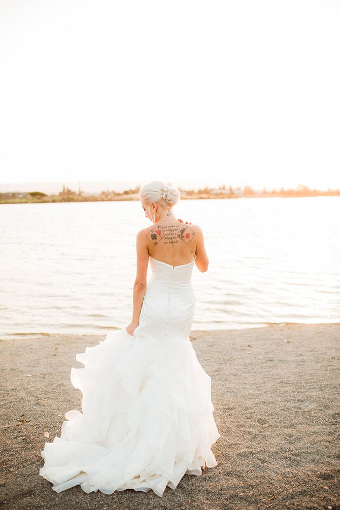Bride with back tattoo | Rustic Wedding in Mountain View | Emily Jean Images