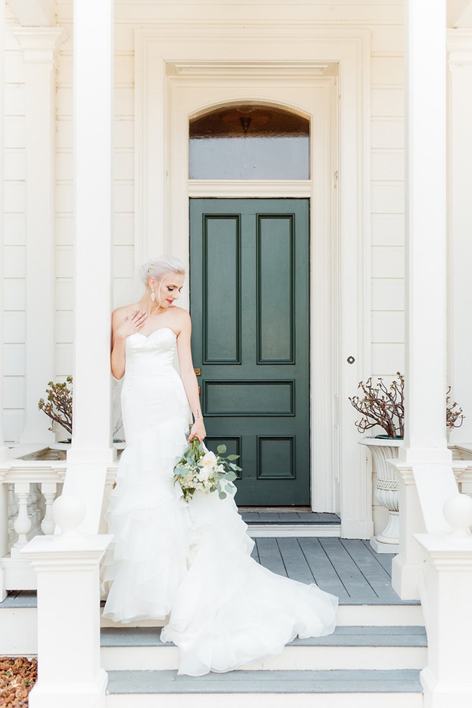 Bride in white dress outside house | Rustic Wedding in Mountain View | Emily Jean Images