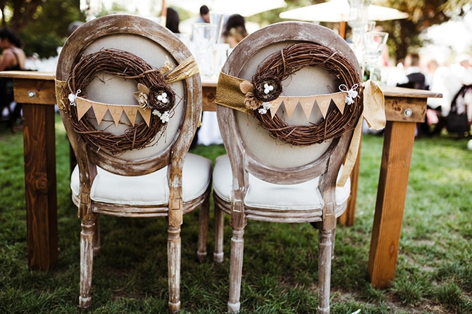 Rustic Chair Backs | Rustic Wedding in Mountain View | Emily Jean Images