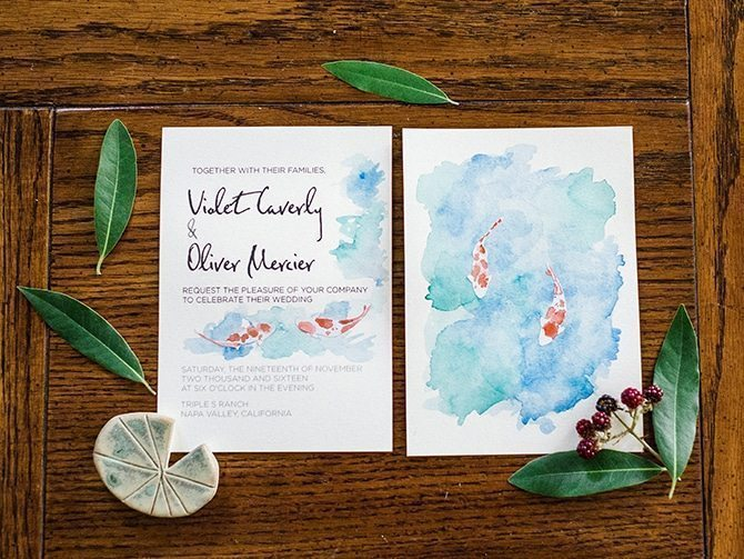 Koi Art Wedding Invitations | Koi Art Style | Pearl Hsieh Photography