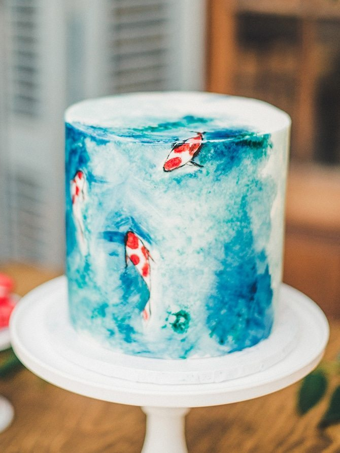 Koi Art Cake | Koi Art Style | Pearl Hsieh Photography