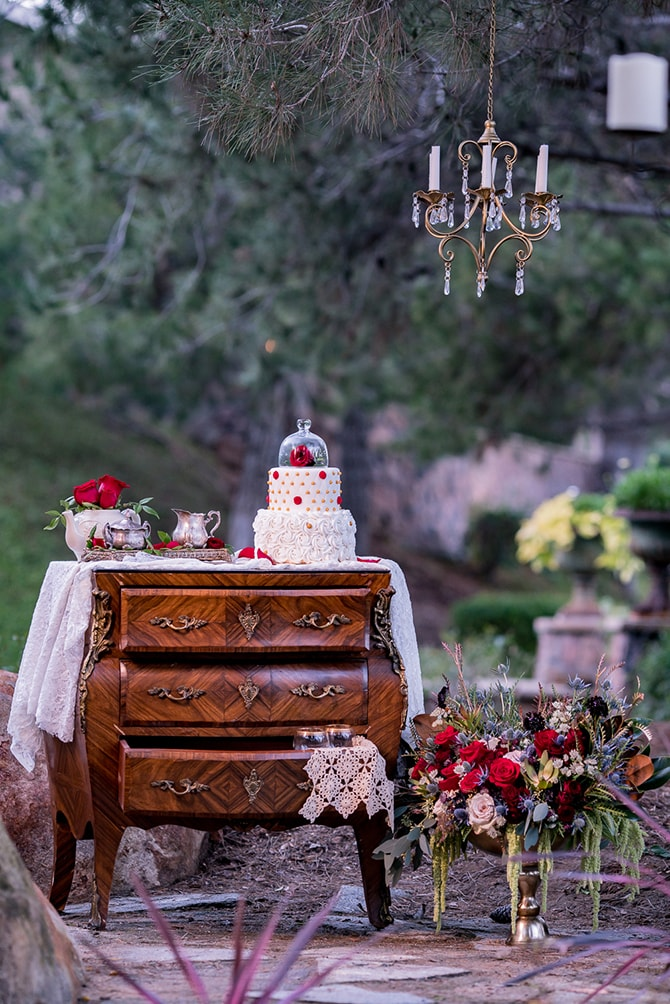Vintage dresser | Beauty and the Beast Wedding | Raelyn Elizabeth Photography
