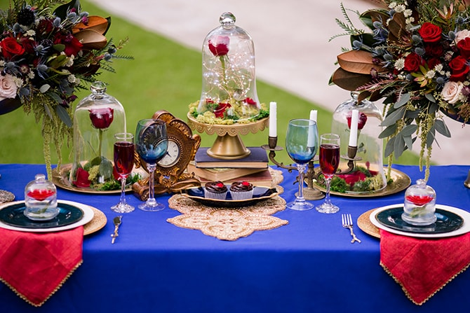 Wedding table setup | Beauty and the Beast Wedding | Raelyn Elizabeth Photography
