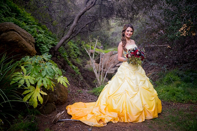 Bride in yellow dress | Beauty and the Beast Wedding | Raelyn Elizabeth Photography