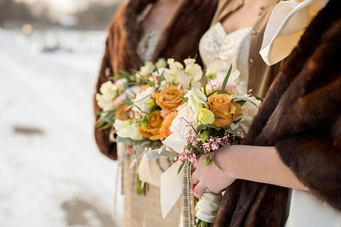 Winter bridesmaid bouquets | Glamorous Snowy Vineyard Wedding | Tonya Damron Photography