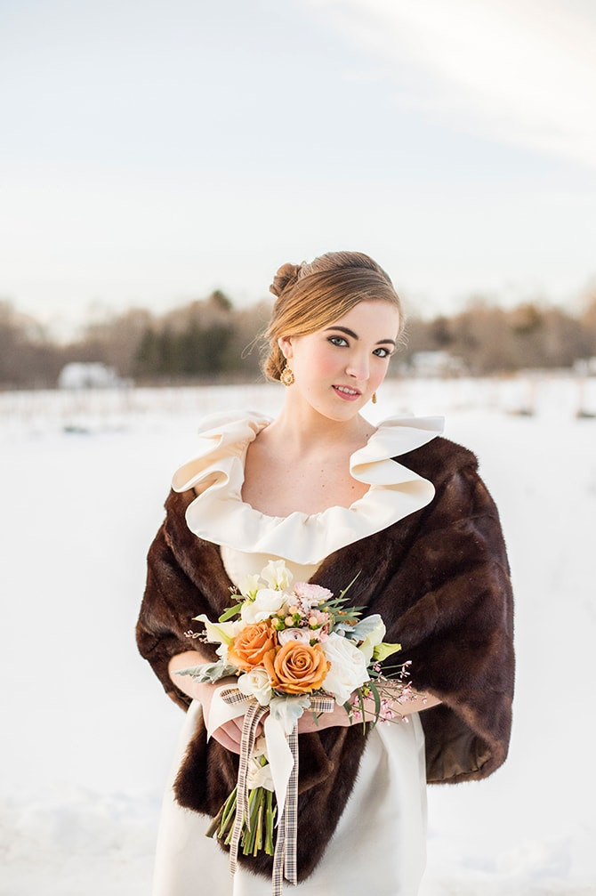 Winter bridesmaid shrug | Glamorous Snowy Vineyard Wedding | Tonya Damron Photography