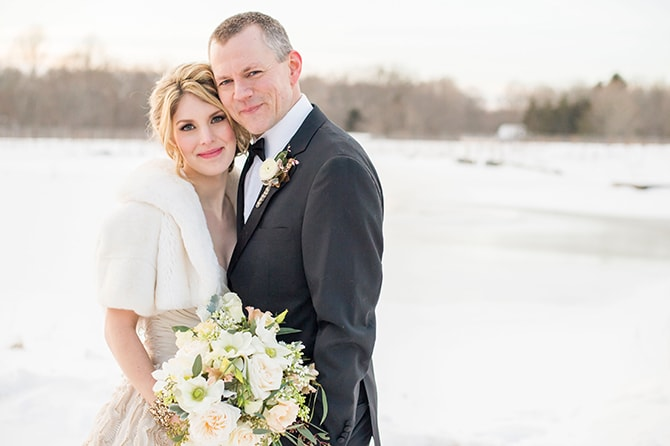 Bride and Groom in the Snow | Glamorous Snowy Vineyard Wedding | Tonya Damron Photography