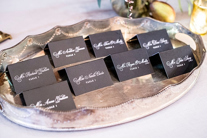 Black place names | Glamorous Snowy Vineyard Wedding | Tonya Damron Photography