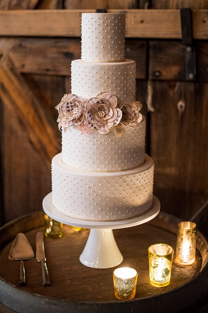Modern White Cake by Lovely Cakes | Glamorous Snowy Vineyard Wedding | Tonya Damron Photography