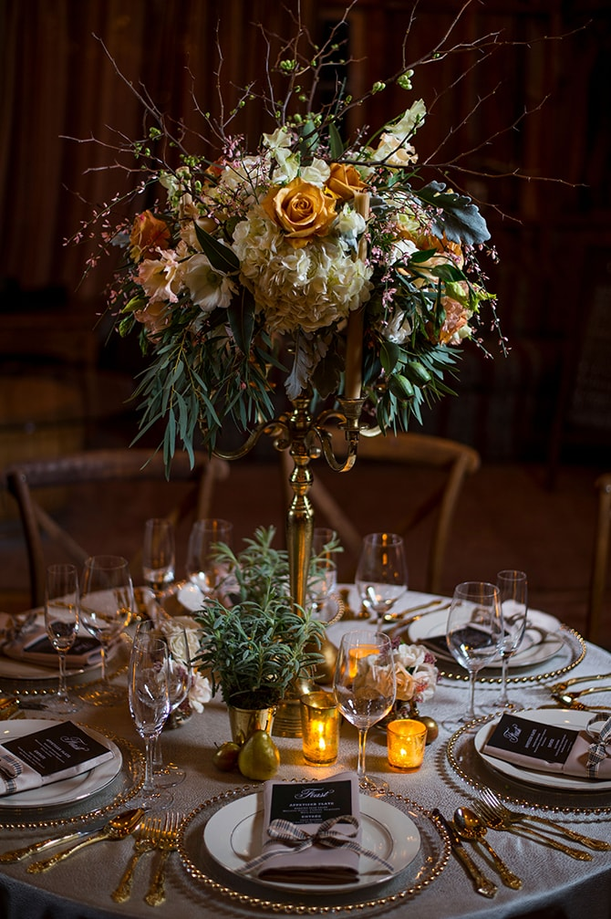 Carrie Wilcox Floral Design | Glamorous Snowy Vineyard Wedding | Tonya Damron Photography