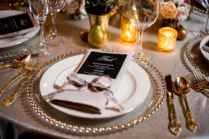 Sincerely Jackie Wedding Menu | Glamorous Snowy Vineyard Wedding | Tonya Damron Photography