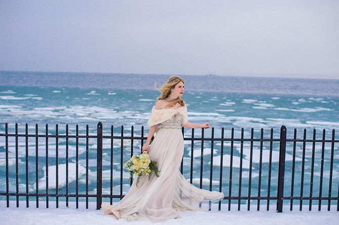 Bride in frozen waters | Glamorous Snowy Vineyard Wedding | Tonya Damron Photography