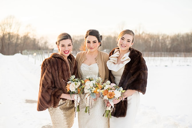 Winter Bridesmaid Fashion | Glamorous Snowy Vineyard Wedding | Tonya Damron Photography