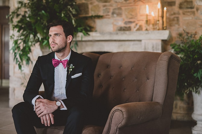 Groom in suit and pink bowtie | Greek Countryside Wedding | Andreas Markakis Photography