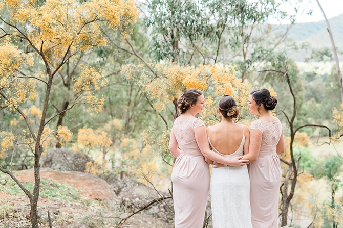 Bride with bridesmaids | Olive Tree Vineyard Wedding Raquelle Loraine Photography