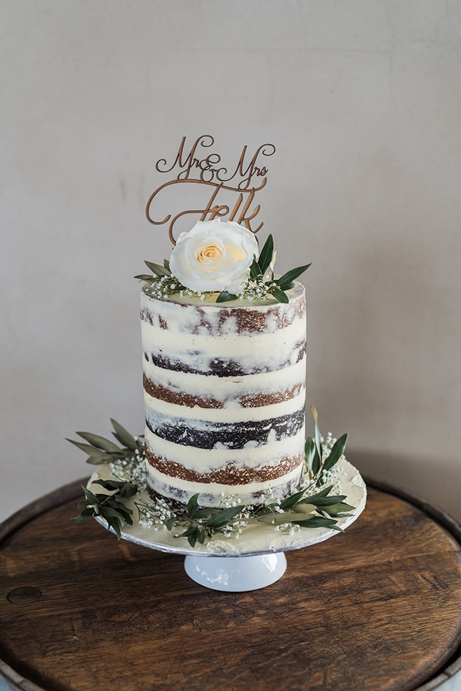 Naked wedding cake | Olive Tree Vineyard Wedding Raquelle Loraine Photography