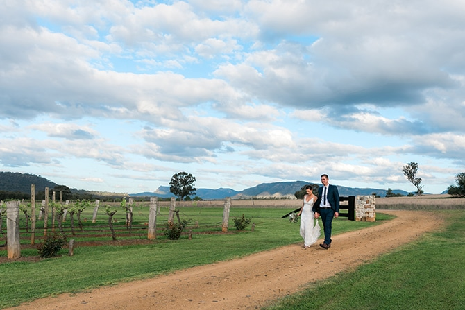 Newlyweds after wedding | Olive Tree Vineyard Wedding Raquelle Loraine Photography