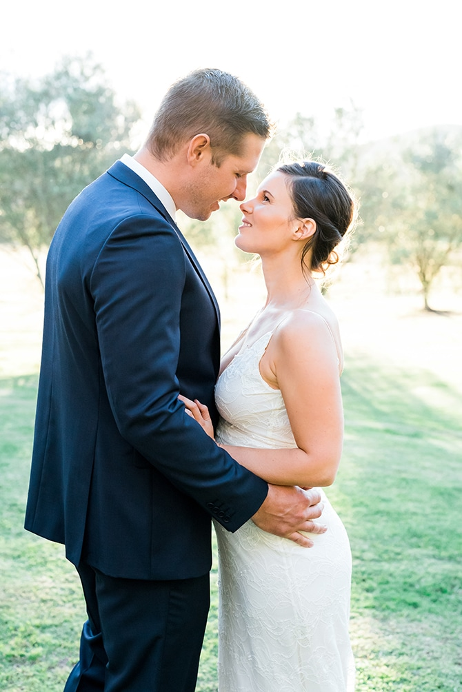 Bride and Groom in Vineyard | Olive Tree Vineyard Wedding Raquelle Loraine Photography