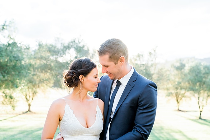 Bride and Groom in summer sun | Olive Tree Vineyard Wedding Raquelle Loraine Photography