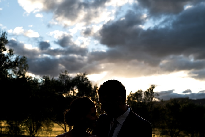 Bride and Groom at sunset | Olive Tree Vineyard Wedding Raquelle Loraine Photography