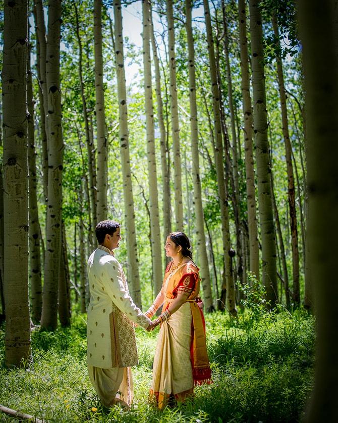 Hindu couple in the woods | Traditional Hindu Wedding | Third Eye Photography