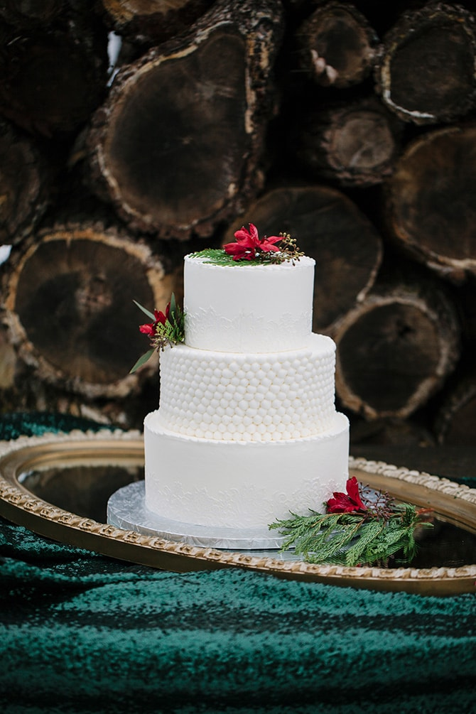 White Winter Wedding Cake | Winter Wedding in Minnesota Woodlands | B. Photography