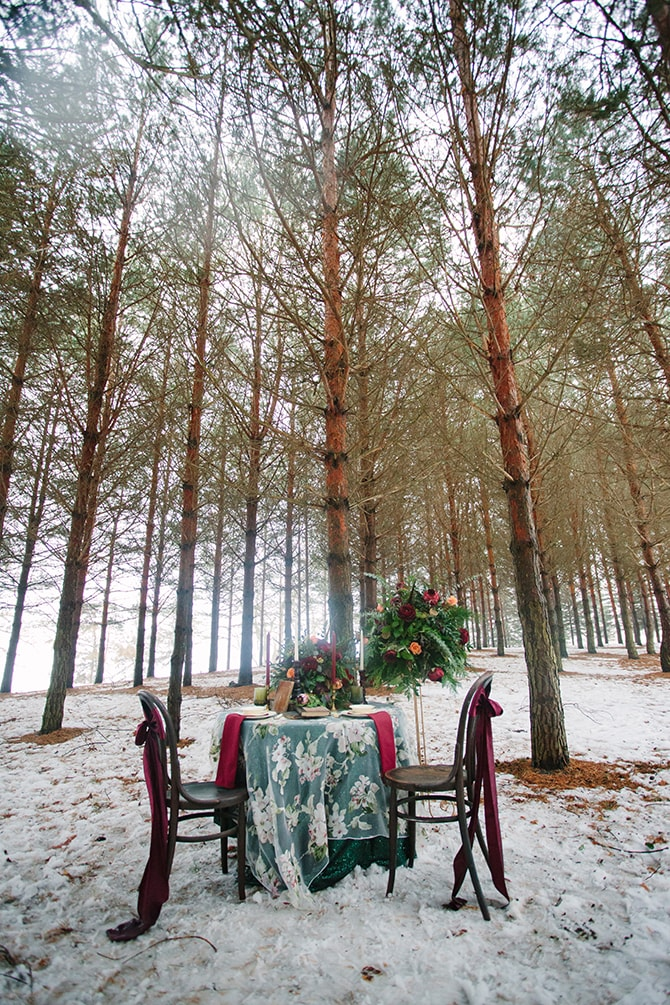 Wedding dining | Winter Wedding in Minnesota Woodlands | B. Photography