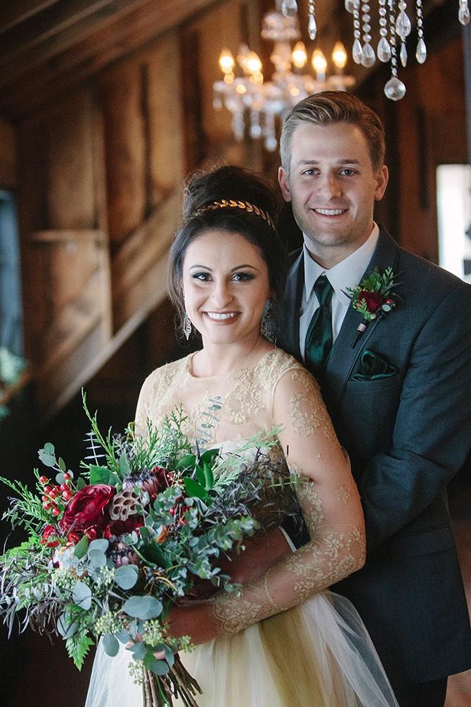 Winter Wedding Couple | Winter Wedding in Minnesota Woodlands | B. Photography