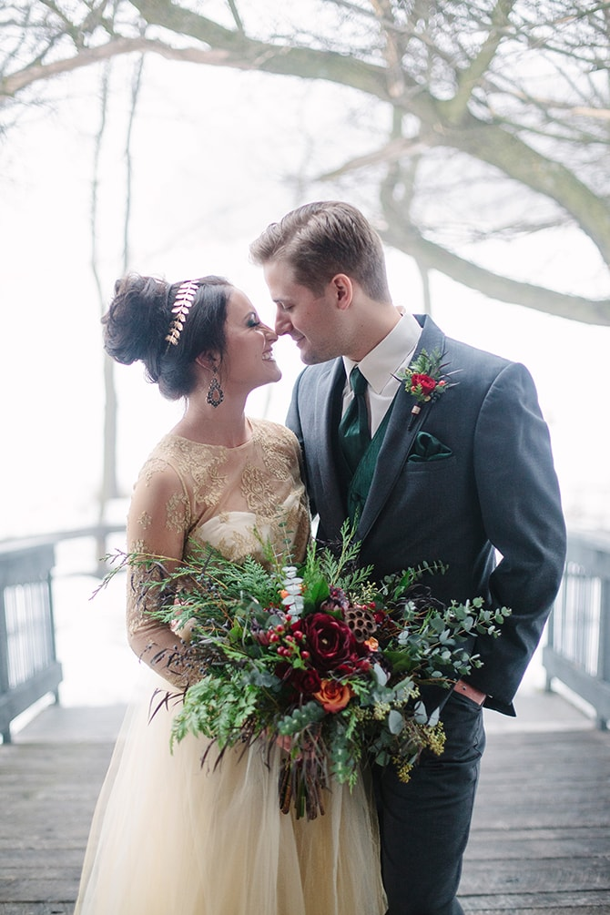 Winter Bride and Groom | Winter Wedding in Minnesota Woodlands | B. Photography